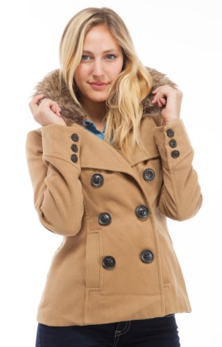 (2402CB-M) Dollhouse Double Breasted Wool Blend Coat with Fur Trim Collar in Crème Brule, Size: M