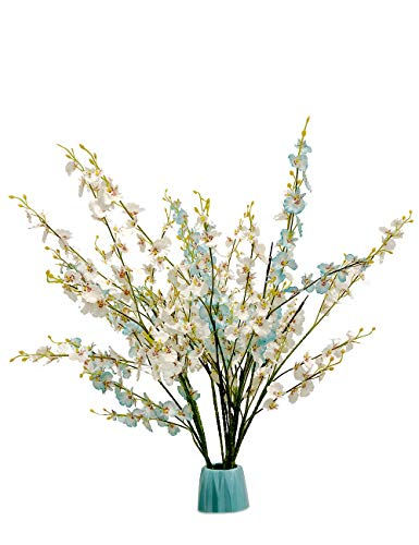 Artificial Orchid Flower Fake Silk Dancing Orchids Bouquet 10pcs with one 20LED Lighted Twig Branch for Wedding Home Office Party Hotel Restaurant Patio Yard Decoration (Dancing Orchids)]()
