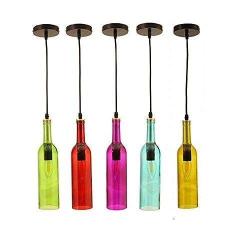 Jandei - Lampara colgante 5 botellas vino colores rosca E14 ...