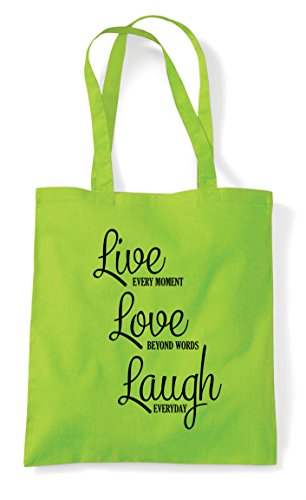 Laugh Statement Tote Words Lime Shopper Love Beyond Live Bag dBxIwnRqF