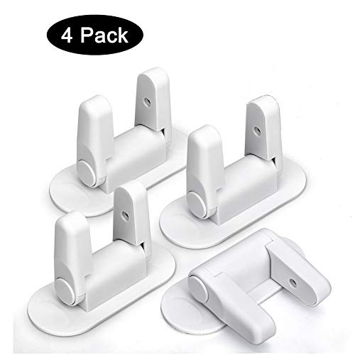 Door Lever Lock – Child/Pets Proof Door Handle Lock with 3M Adhesive – Child Safety Locks by AIRSPO (White, 4 Pack)