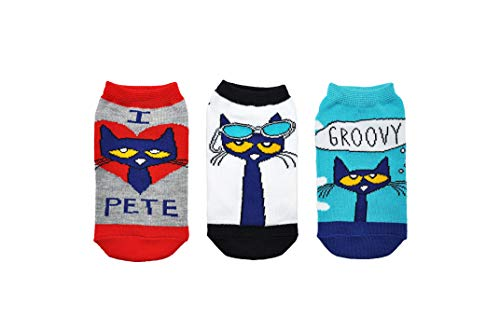 Pete the Cat Socks Gifts (Youth) (3 Pair) - Pete the Cat Costume Lowcut Socks - Fits Shoe Size: 9-3 (Kids) -