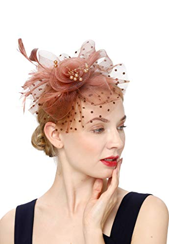 - Cizoe Flower Cocktail Tea Party Headwear Feather Fascinators Top Hat for Girls and Women(1-coffee)