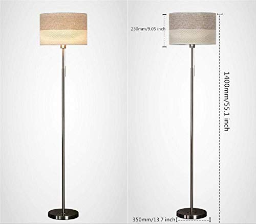 - Floor Lamp Modern Simple Standing Lamp 2 Color Stripe Fabric Lampshade Metal Sand Nickelel Floor Light 1.4 M with Pull Line Switch for Living Room Bedroom Bedside Office