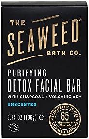 The Seaweed Bath Co. Purifying Detox Facial Bar Soap, Unscented, Natural Organic Seaweed, Charcoal, Vegan, Paraben Free, 3.7