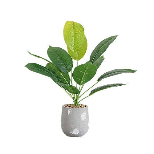 DODXIAOBEUL 17 inch Tropical Leaves Potted Artificial Simulation Tropical Oak Leaves Fake Plant Decorative Lifelike Flower Green Plants with Round Cement Pot (Green-B)