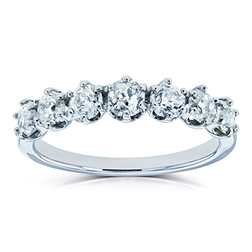 7-Stone Round Old Mine Cut Diamond 1 1/8 CTW Wedding Band Prong Set in Platinum, 7.5 -