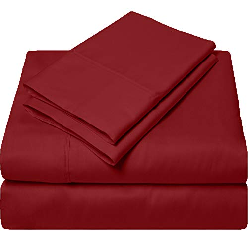 SGI bedding Queen Sheets Luxury Soft 100% Egyptian Cotton Sheets 1000 Thread Count for Queen Mattress Burgundy Solid (Queen Sheets Burgundy)