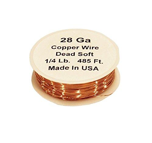 28 Ga Solid Bare Round Copper Wire (1/4 Lb. - 498 Ft.)Spool ()