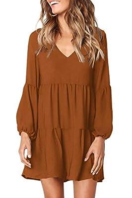 FAVALIVE Womens Casual Loose Short Sleeve V Neck Solid Color Dress