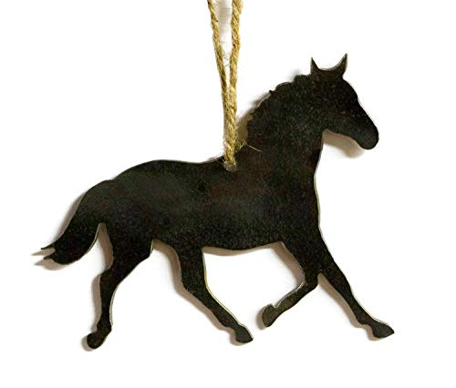 Horse Equestrian Metal Christmas Ornament Tree Stocking Stuffer Party Favor Holiday Decoration Raw Steel Gift Recycled Nature Home Decor]()