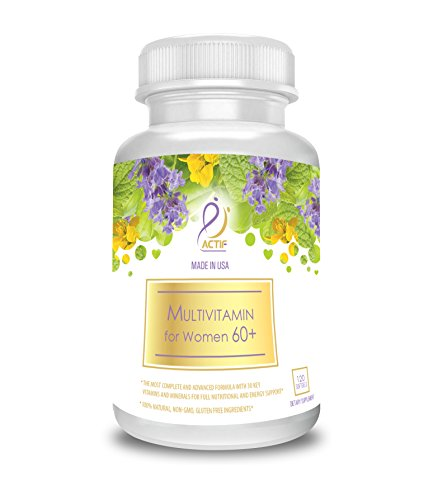 Actif Organic Multivitamin for Women Age 60+ with 30 Organic Vitamins and Organic Herbs, Non-GMO, Made in USA, 120 count