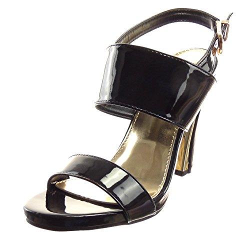 Sopily - Scarpe da Moda sandali scarpe decollete Zeppe Aperto alla caviglia donna lucide fibbia Tacco a blocco tacco alto 10.5 CM - Nero