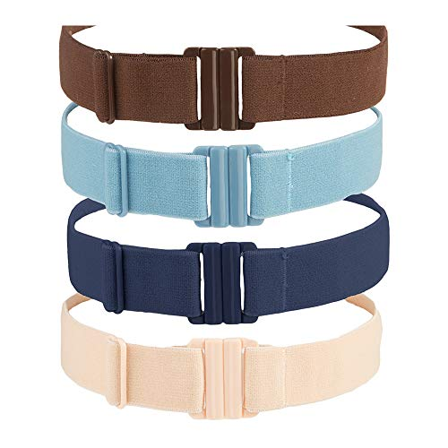 (Adjustable Stretch Belt: No Show Flat Buckle, Non-Slip Backing (Multipack))