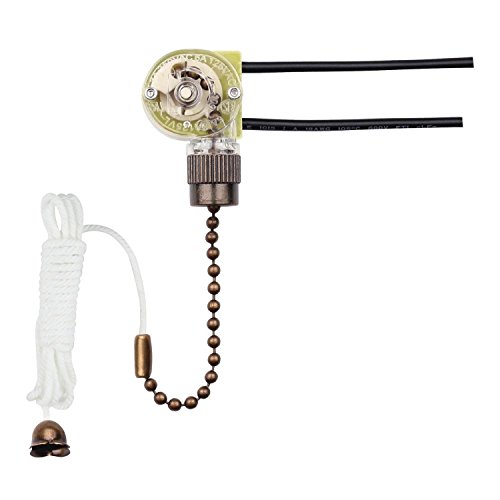 Westinghouse 7728700 Fan Light Switch with Antique Brass Pull Chain (Chain Switch Pull)
