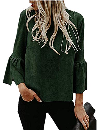 Bigyonger Womens Blouses Flare Bell 3/4 Sleeves Faux Suede Tunic Shirt Tops (Green, X-Large) ()
