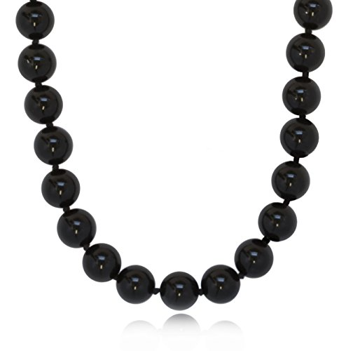 (ISAAC WESTMAN 10mm Polished Black Onyx Beaded Endless Necklace for Women (30.00))