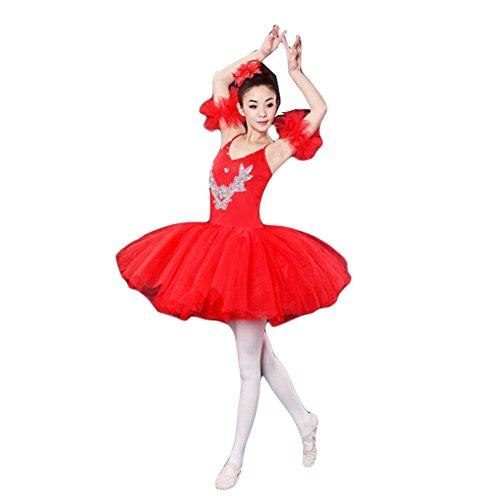 Adult Ballet Red Dress/Swan Lake Costumes/Sling Ballet Skirt,XL (Swan Ballet Costume)