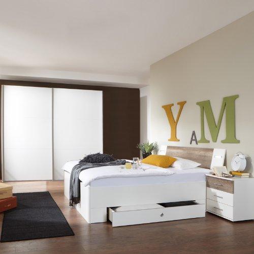 Komplett Schlafzimmer weiß Wildeiche 270cm Kleiderschrank Bett Nachtschränke