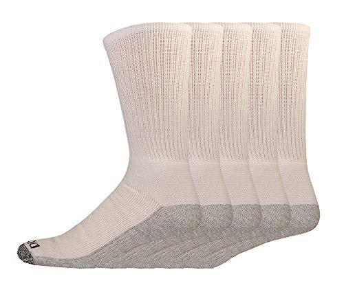 Dickies Genuine Men's 5-Pair Crew Work Socks - White / Grey - Big & Tall 12-15
