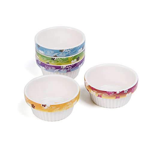 Cinf Porcelain Ramekins Floral 4 oz. Baking Pudding Bowls Dishes Soufflé Cups Dishes, Creme Brulee, Custard Cups, Desserts Set of 5,Oven,Microwave,Freezer and Dishwasher Safe (Porcelain Dish Souffle)