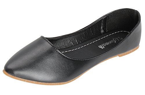 UJoowalk Womens Black Leather Comfortable Lightweight Solid Pointed Toe Ballet Flats Shoes - Size 6 Lightweight Black Leather