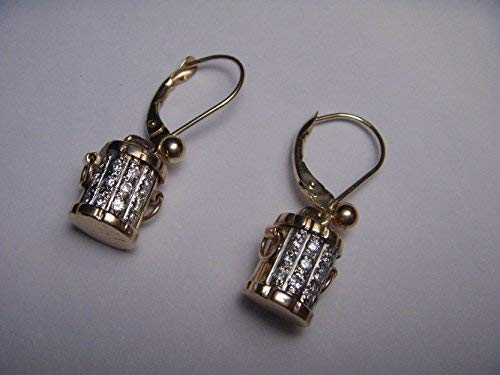 (Gorgeous Estate 14K Yellow Gold Diamond Bucket Earrings)