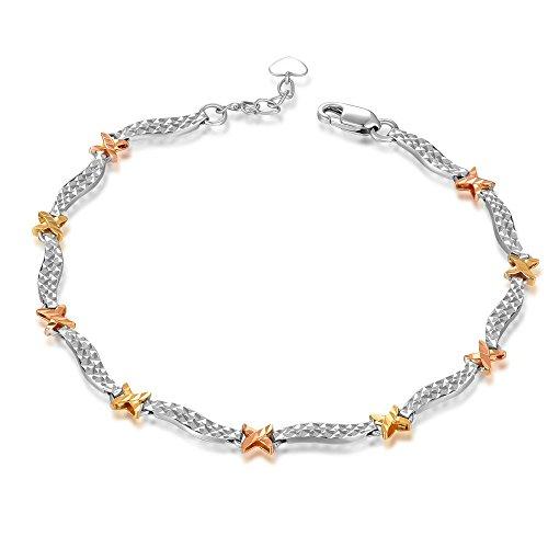 MaBelle - Coupe Diamant Croix Vague Bracelet Femmes Trois Couleur Jaune Rose Or Blanc 585/1000 (14 carats) - 17.5 cm