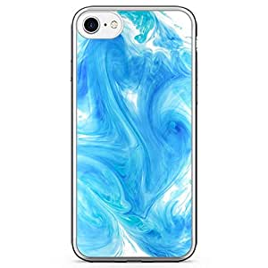 iPhone 7 Transparent Edge Phone Case Blue Apple Style Wallpaper iPhone 7 Cover with Transparent Frame