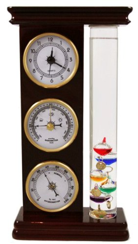 Ambient Weather YG710-6 Galileo Thermometer, Barometer, Hygrometer and Quartz Clock Weather (Weather Glass Barometer)