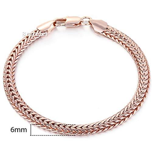 Women Men 585 Rose Gold Curb Snail Foxtail Chain Woman Bracelets Jewelry 18Cm-23Cm 6mm GB254 7inch 17.5cm ()