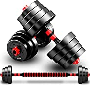 Zzzy Weights Dumbbells Adjustable A Pair,Dumbbell Sets 2 In 1 Fitness Barbell Weight With Connecting Rod Lifti