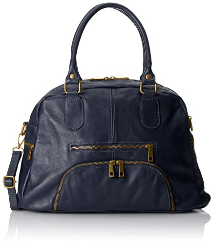 Blue Style Italy CTM 12''x7''x4'' Genuine in Satchel Made leather 100 Woman Handbag Blu fOqwWB6H