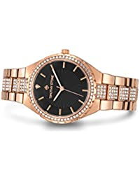 Womens Watches Swarovski Crystal Dial and Bezel Rose Gold-Tone & Black