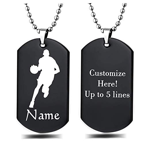 - Personalized Sport Silhouette Customize Engrave Message Name Dog tag Necklace Pendant 24 inch Stainless Steel Chain Giftpouch and Keyring (Black Basketball)