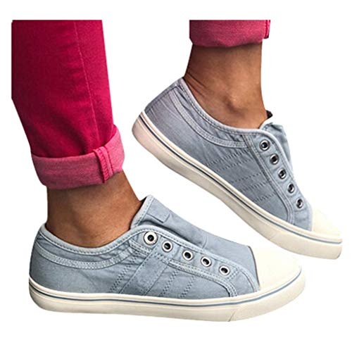 Cenglings Women's Sneakers, Women Round Toe Canvas Flat Shoes Slip On Shoes Casual Sport Shoes Walkings Shoes Office Loafers Blue