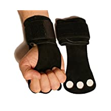 Leather Hand Grips with Wide Wrist Wraps-Perfect for Pull-up Training, Kettlebells and Barbell Training, Weightlifting.Leather and Velcro Wrist Support