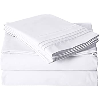 Cal King Size Bed Sheets Set, White, Best Quality Bedding Sheet Set, 4