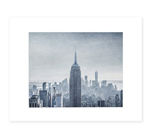 New York City Wall Art, Manhattan Skyline NYC Decor, Empire State Building Picture, 8x10 Matted Photography Print, 'Winter Metropolis' (Picture Frame Landscape State)
