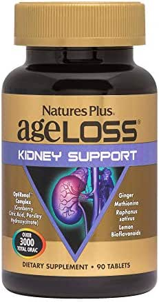 NaturesPlus AgeLoss Kidney Support - 90 Vegetarian Tablets - Anti-Aging, Antioxidant, Anti-Inflammatory Supplement with Vitamin D3 & Magnesium - Gluten-Free - 30 Servings