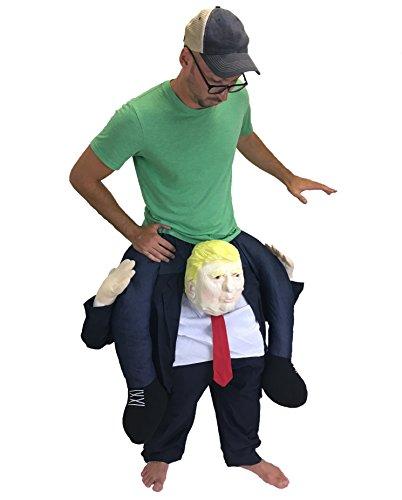 Piggyback Riding President Donald Trump Funny Costume (President Halloween Masks 2017)