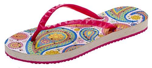 Showaflops Womens Antimicrobial Shower & Water Sandalen für Pool, Strand, Wohnheim und Fitnessstudio - BoHo Fun Collection Paisley