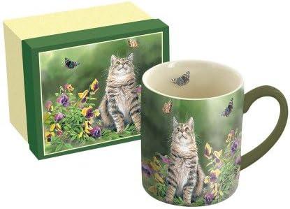 Lang 14 Oz Ceramic Coffee Mug Butterfly Dreams Art By Susan Bourdet Tabby Cat Butterflies Kitchen Dining Amazon Com