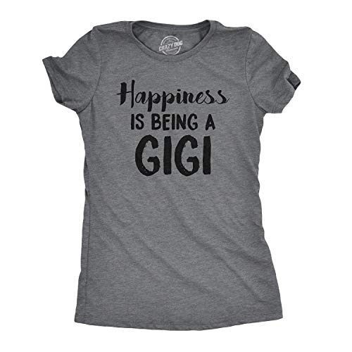 Womens Happiness is Being A Gigi Tshirt Cute Family Grandparent Tee for Ladies (Dark Heather Grey) - XXL