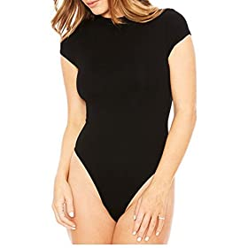 - 41EeJQDZXmL - Sumtory Women Short Sleeve Bodysuit Top Round Neck Bodycon Romper Jumpsuit Thong Leotard
