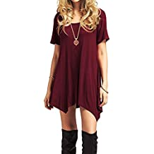 American Trends Women's Short Sleeve Tunics Casual Swing Dresses Loose T-Shirts Midi Dress Summer Flowy Tops Tee