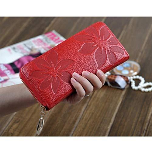 Cuero Red Mujeres Del Hombro Monedero Genuino Las Alrededor De Tarjeta La Zip Titular Bolsa Big Larga color Wristlet Embrague Cartera vHwXgqx