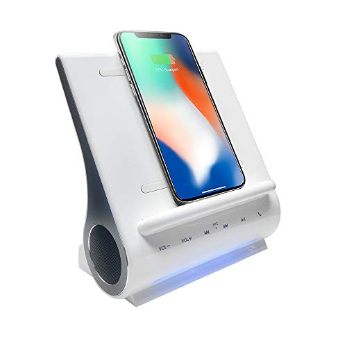 (Azpen Dockall D108 - Qi Wireless Fast Charging Docking Station with Upgraded Bluetooth Speaker System White)
