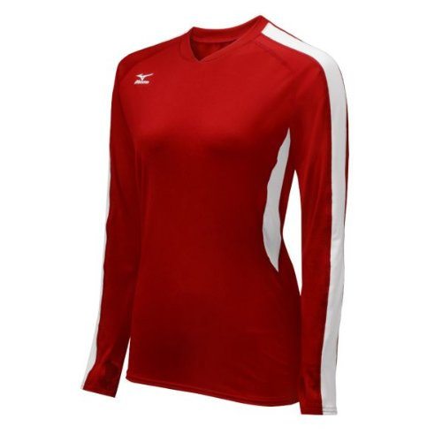 Pullover Red Mizuno (Mizuno Women's Techno Volley IV Long Sleeve Jersey, Red/White, XX-Small)