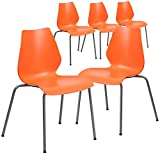 Flash Furniture 5 Pk. HERCULES Series 770 lb. Capacity Orange Stack Chair with Lumbar Support and Silver Frame